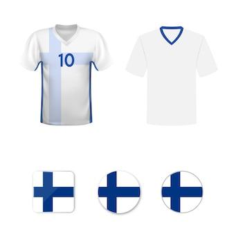 Zestaw koszulek piłkarskich i flag reprezentacji finlandii