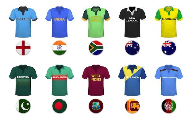 Zestaw koszulek polo i flag reprezentacji narodowej.