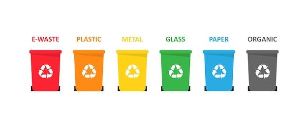 Zestaw koszy na odpady elektroniczne, plastikowe, metalowe, szklane, papierowe i organiczne. wektor eps 10