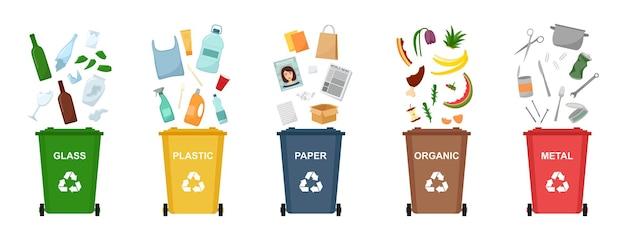 Zestaw koszy na śmieci do recyklingu różnego rodzaju odpadów. sortowanie i recykling odpadów. ilustracja wektorowa