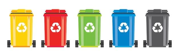 Zestaw koszy z symbolem recyklingu na białym tle. ilustracja wektorowa.