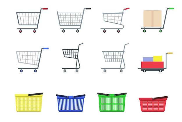 Zestaw koszyka na zakupy w supermarkecie. styl flast