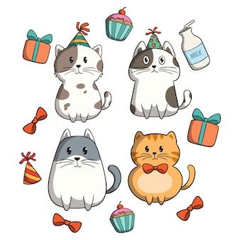 Zestaw kota świętuje przyjęcie urodzinowe w stylu doodle