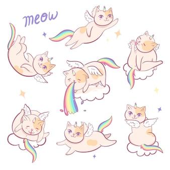 Zestaw kotów jednorożce na białym tle na białym tle. grafika wektorowa.