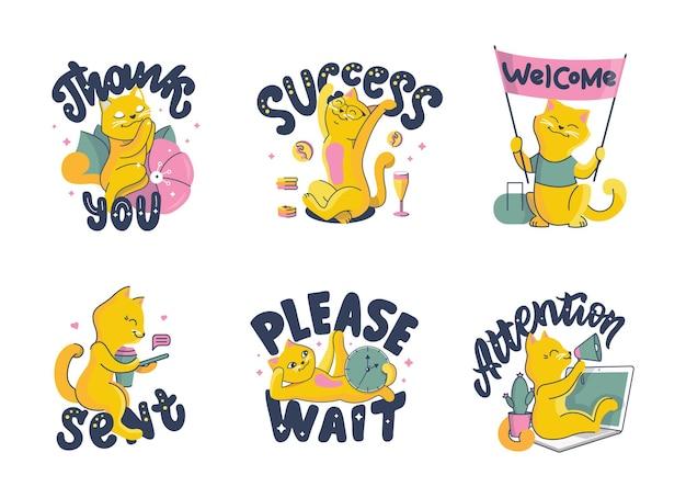 Zestaw kotów. kolekcja zwierząt kreskówek z napisem masaże.