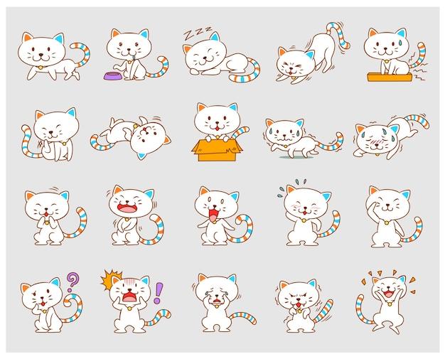 Zestaw kotów kreskówka biały w różnych pozach.