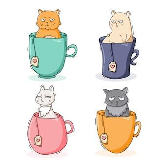 Zestaw kotów w kubkach z herbatą