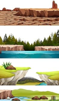 Zestaw krajobrazów przyrody