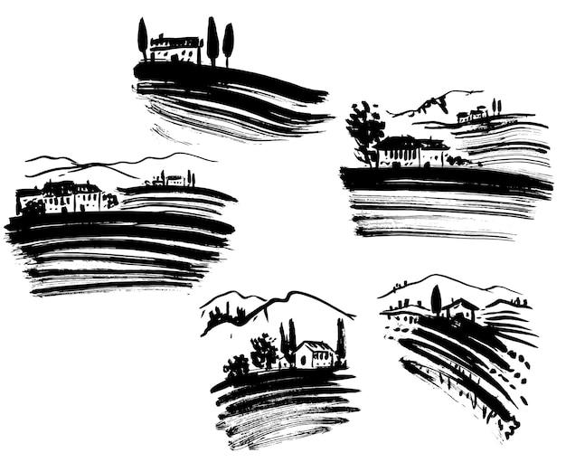 Zestaw krajobrazów winnic, czarno-biała grafika
