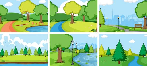 Zestaw krajobrazu parku przyrody