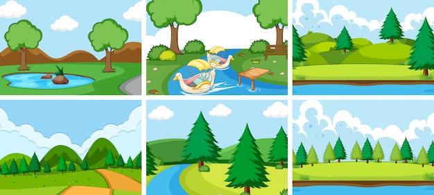 Zestaw krajobrazu parku