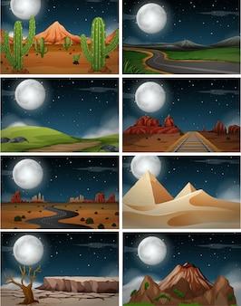 Zestaw krajobrazu przyrody w nocy