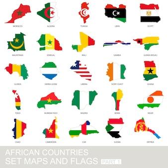 Zestaw krajów afrykańskich, mapy i flagi, część 1