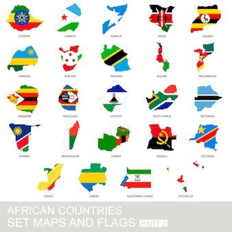 Zestaw krajów afrykańskich, mapy i flagi, część 2