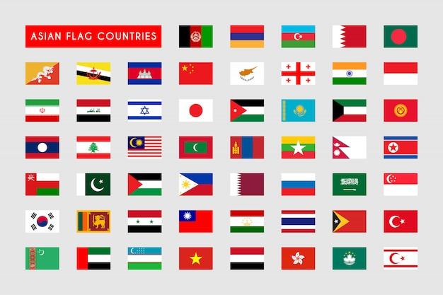 Zestaw krajów azjatyckiej flagi