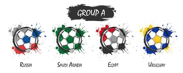 Zestaw krajowej drużyny piłkarskiej grupy a. realistyczne farby akwarelowe z poplamione splash