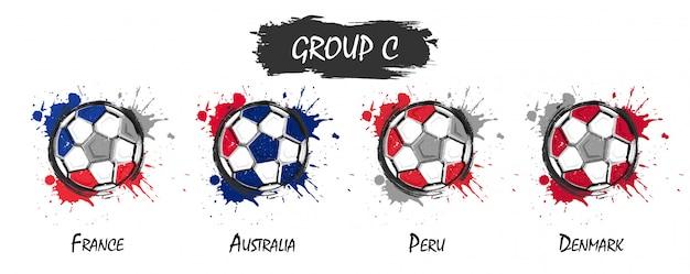 Zestaw krajowej drużyny piłkarskiej grupy c. realistyczne farby akwarelowe z poplamione splash