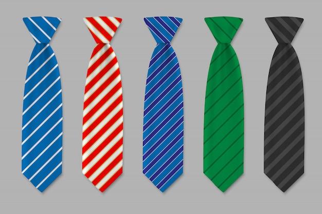 Zestaw krawatów izolowanych. kolorowy krawat dla mężczyzn