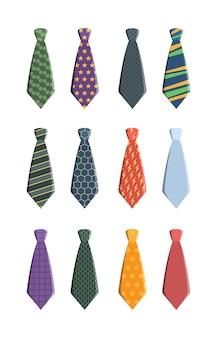 Zestaw krawatów. ubrania biznesowe dla mężczyzny krawat garderoby z wzorem jaskrawej kolekcji wektorowej, kolekcja akcesoriów krawata nosić odzież ilustracja węzeł