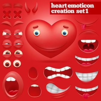 Zestaw kreacji postaci emotikon serca kreskówka