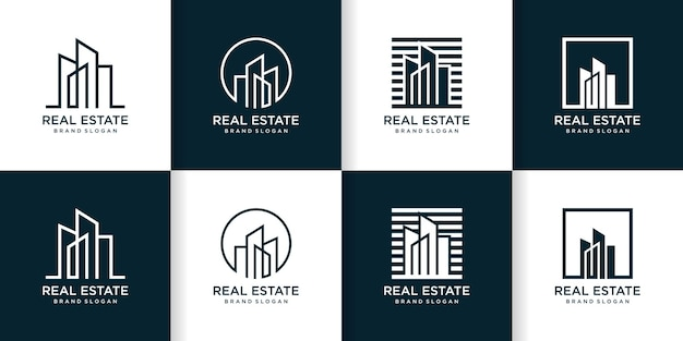 Zestaw kreatywnego abstrakcyjnego szablonu logo budynku