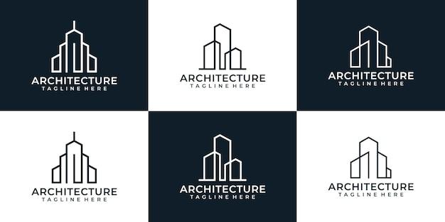 Zestaw kreatywnego logo budynku architektury monogramu dla nieruchomości