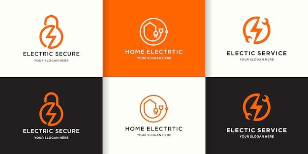 Zestaw kreatywnego logo elektrycznego z koncepcją linii