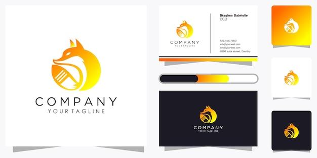 Zestaw kreatywnego logo lisa z fajnym stylem gradientu linii i szablonem projektu wizytówki
