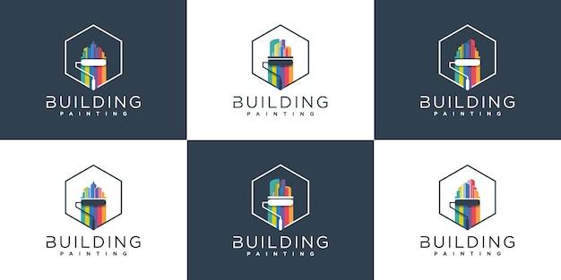 Zestaw kreatywnego malowania logo szablon projektu w stylu tęczy, premium vektor