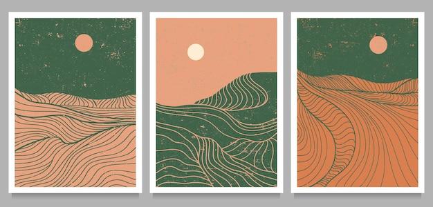 Zestaw kreatywnego, minimalistycznego, nowoczesnego druku graficznego. abstrakcyjne górskie współczesne krajobrazy estetyczne. z górą, lasem, morzem, linią horyzontu, falą.