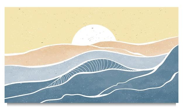 Zestaw kreatywnego, minimalistycznego, nowoczesnego druku graficznego. streszczenie współczesnych krajobrazów estetycznych fal oceanicznych. z morzem, linią horyzontu, falą.