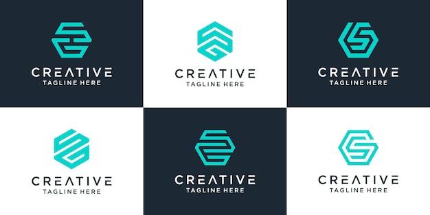 Zestaw kreatywnego monogramu listu sg z inspiracją do projektowania sześciokątów