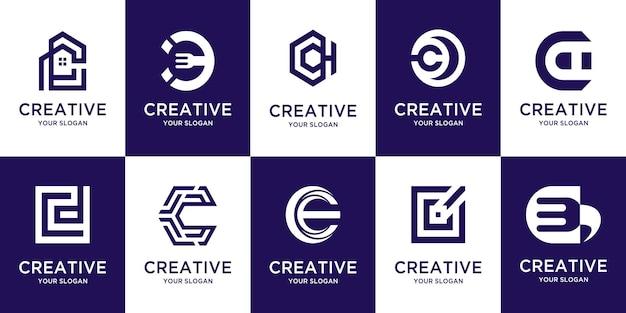 Zestaw kreatywnego monogramu początkowej litery c logo szablonu