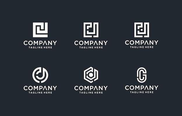 Zestaw kreatywnego monogramu początkowej litery cj logo szablonu