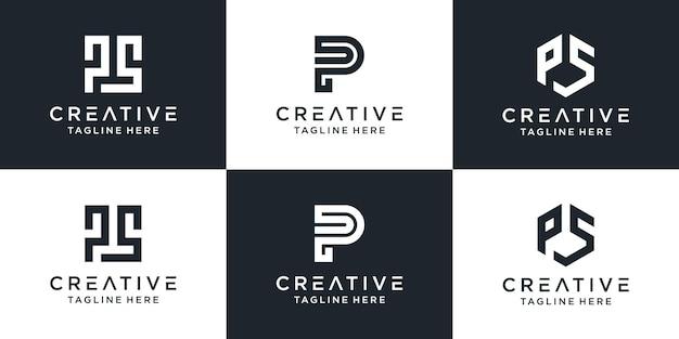 Zestaw kreatywnego monogramu początkowej litery ps logo szablonu