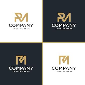 Zestaw kreatywnego monogramu początkowej litery rm szablonu logo