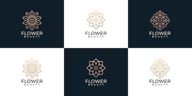 Zestaw kreatywnego pakietu logo spa z kwiatami urody