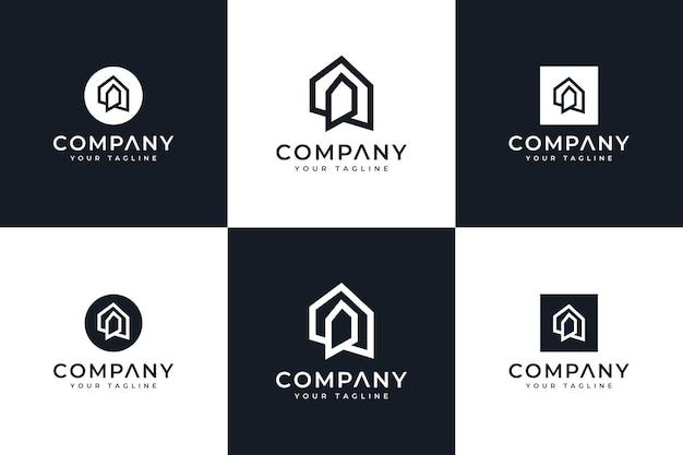 Zestaw kreatywnego projektowania logo domowego do wszystkich zastosowań