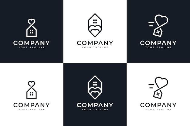 Zestaw kreatywnego projektowania logo domu miłości serca do wszystkich zastosowań