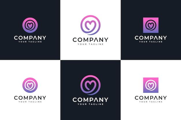 Zestaw kreatywnego projektowania logo koła miłości do wszystkich zastosowań