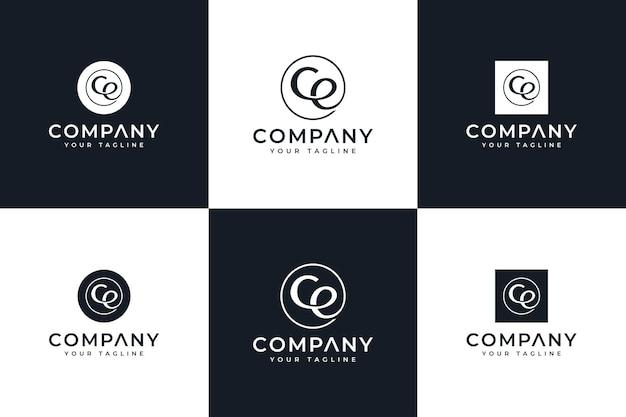 Zestaw kreatywnego projektowania logo letter ce do wszystkich zastosowań
