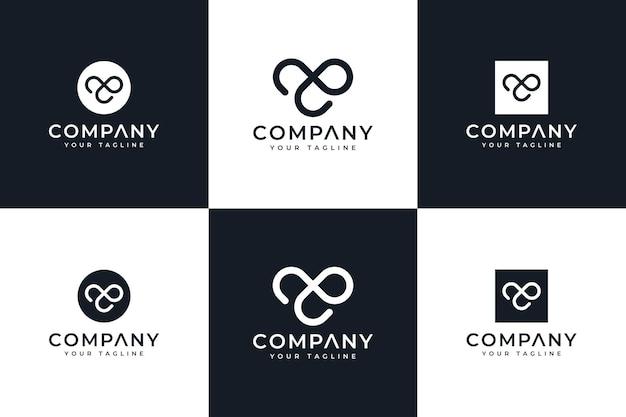 Zestaw kreatywnego projektowania logo litery ae do wszystkich zastosowań