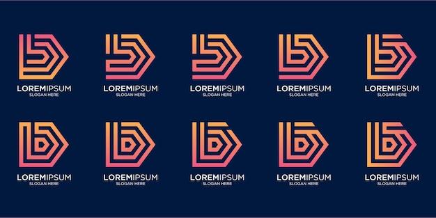 Zestaw kreatywnego projektowania logo litery b z monogramem