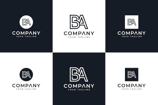 Zestaw kreatywnego projektowania logo litery ba do wszystkich zastosowań