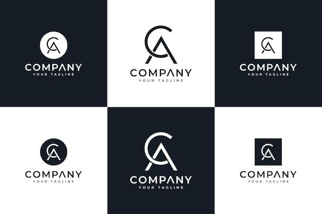 Zestaw kreatywnego projektowania logo litery ca do wszystkich zastosowań