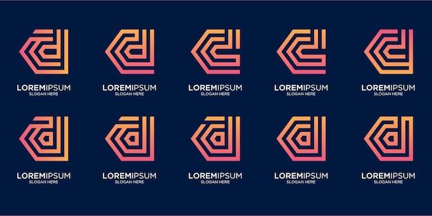 Zestaw kreatywnego projektowania logo litery d monogramgram