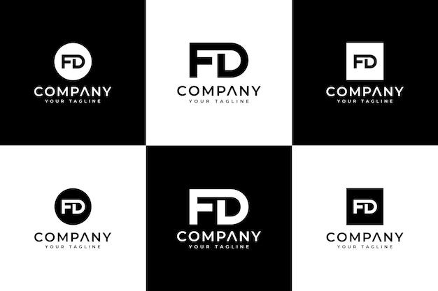 Zestaw kreatywnego projektowania logo litery fd do wszystkich zastosowań