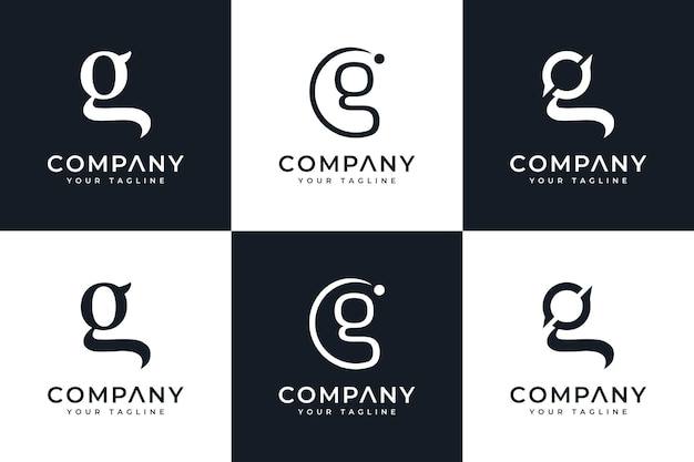 Zestaw kreatywnego projektowania logo litery g do wszystkich zastosowań