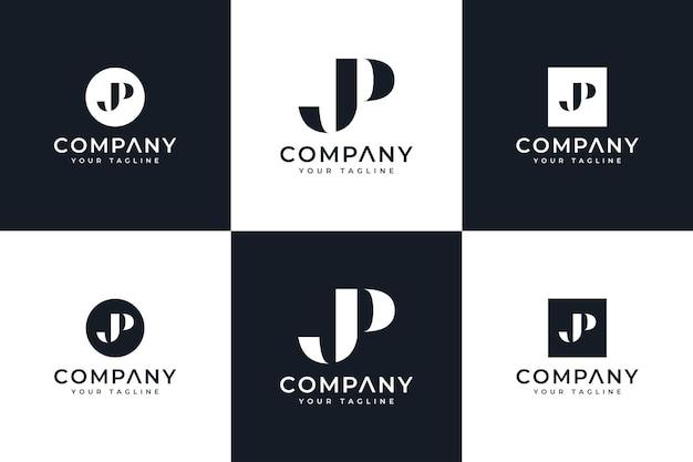 Zestaw kreatywnego projektowania logo litery jp do wszystkich zastosowań