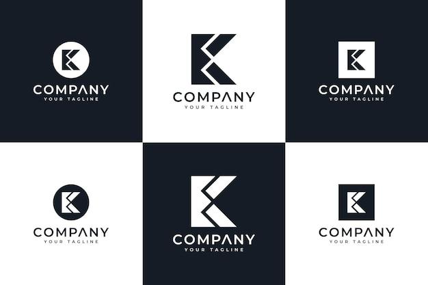 Zestaw kreatywnego projektowania logo litery k do wszystkich zastosowań
